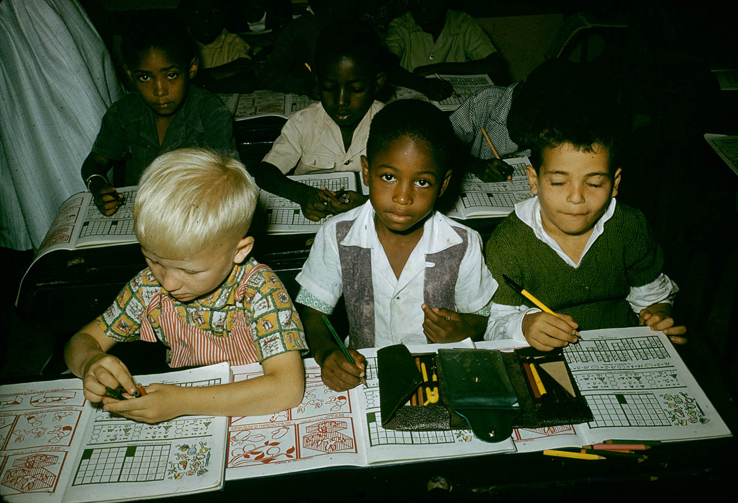 African History Project - 1961 students Democratic Republic of the Congo, integrated classroom with diverse students copy